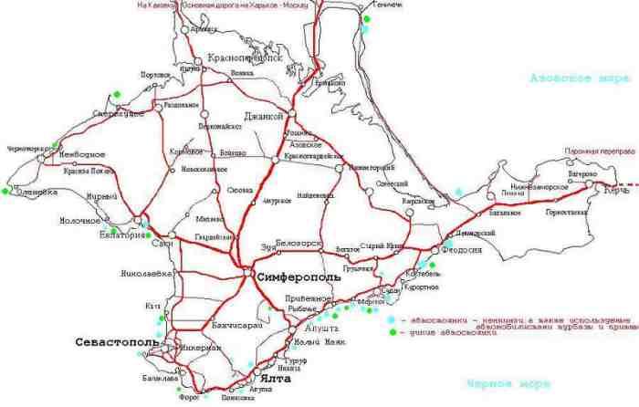 Автомобильная карта Крыма с городами и поселками